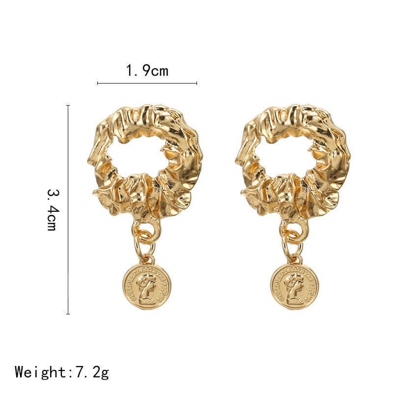 Vintage Metal Medusa fashion women's earrings 2019 Coin Portrait Pendant Drop Earrings Charms Gold Ethnic Women earrings