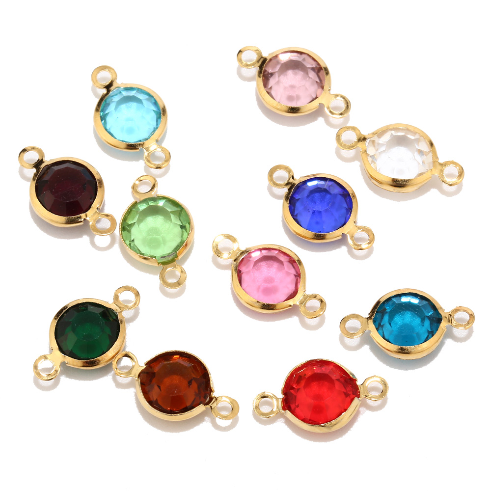 New Design 8.5mm Gold Color Stainless Steel Crystal Birthstones Connector Gem Stone Charm Beads Findings For Jewelry Making DIY