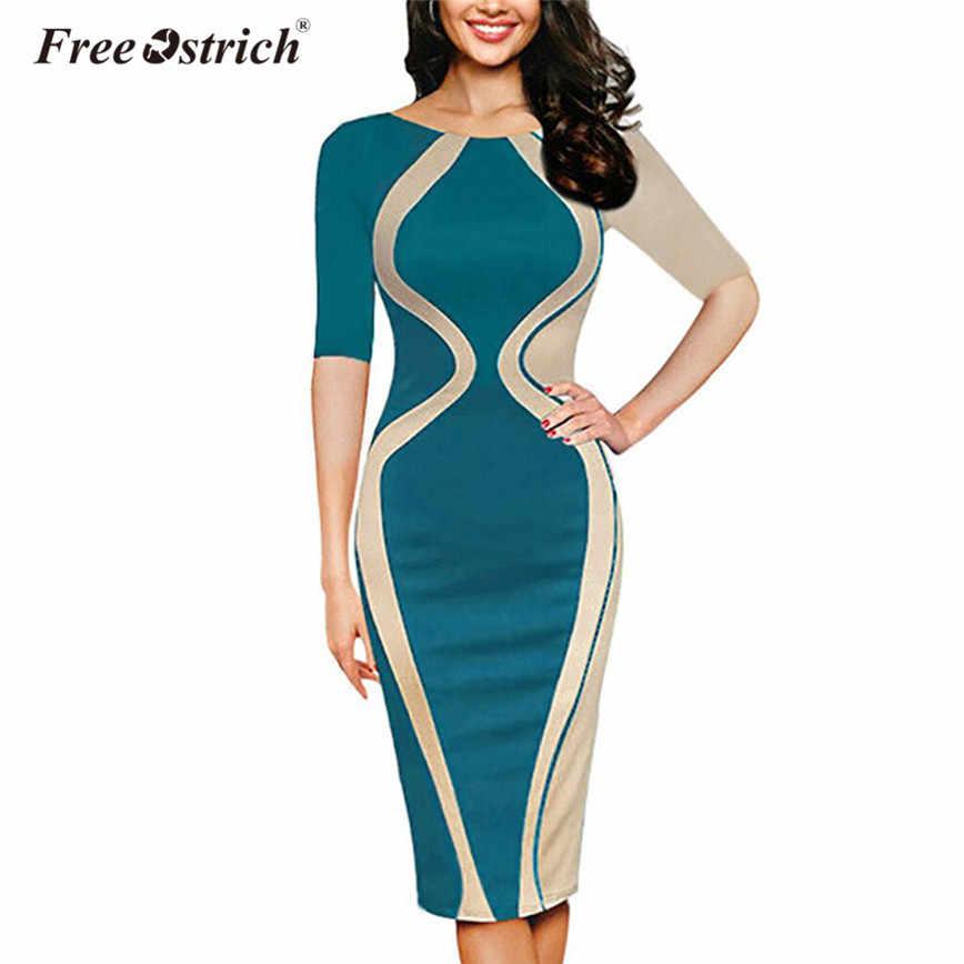 9cc0a7c95 Free Ostrich Fashion Plus Size Summer Dress Women Short Sleeve Patchwork  Knee-Length Dresses Sheath