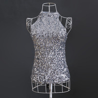 European And American Fashion Nightclub Sexy Halter Neck Off The Shoulder Sequin Vest Tops KR1012 2