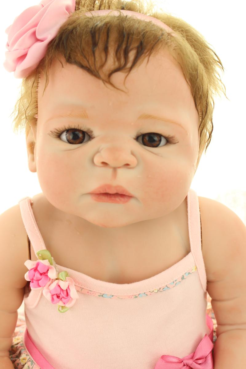 58CM Full Silicone Reborn Baby Dolls Victoria Handgjord Full Body Silicone Reborn Dolls Real Hair Rooted Girls Bebes De Silicona