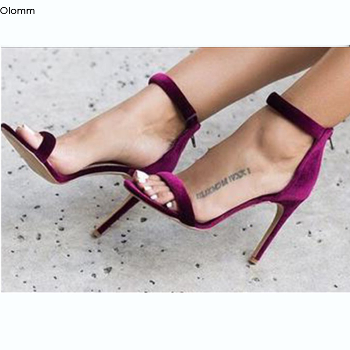 Olomm Women Sandals Sexy Stiletto High Heels Sandals Nice Open Toe Gorgeous Wine Red Black Casual