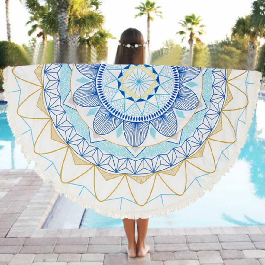 150CM Polyester Round Table Cloth Beach Pool Home Shower Towel Blanket Table Cloth Yoga Mat 2JY28