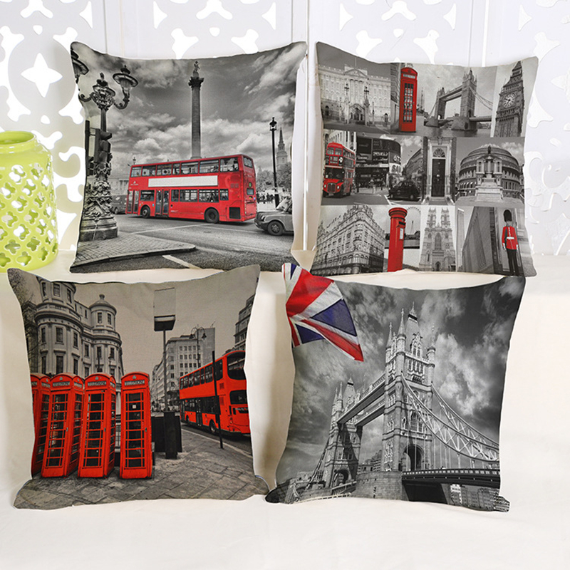 Us 5 11 36 Off Vintage Uk London Phone Booth Pillow Case Decorative Cotton Linen Big Ben Art British Fashion Sofa Throw Pillows Cushion Cover In