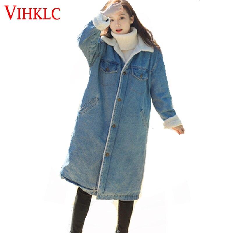 Mode Lâche Manches Denim H431 Manteau Chaud 2017 Vintage Blue Style Veste À Hiver Longues Automne Vestes Femmes 81qwpnEO