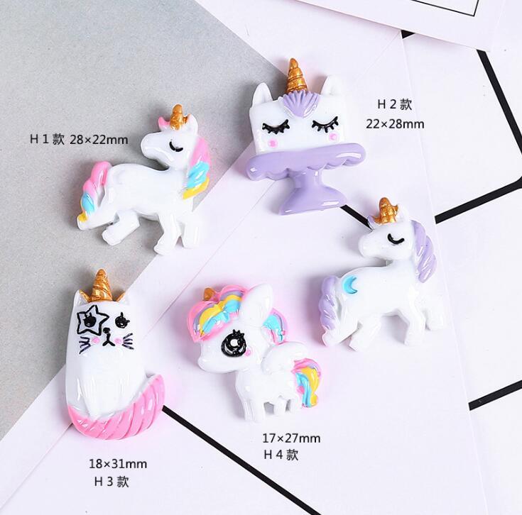 24 Assorted Large Unicorn Resin Flatback Cabochon Embellishments Decoden Kawaii Slime Supplies Craft Bow Jewellery DIY UK