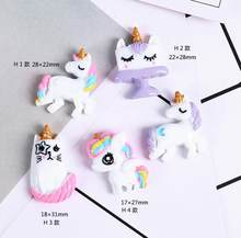Kawaii unicorn Flatback Resin Cabochon Craft For DIY Hair Clip Decoration Supplies Embellishment(China)