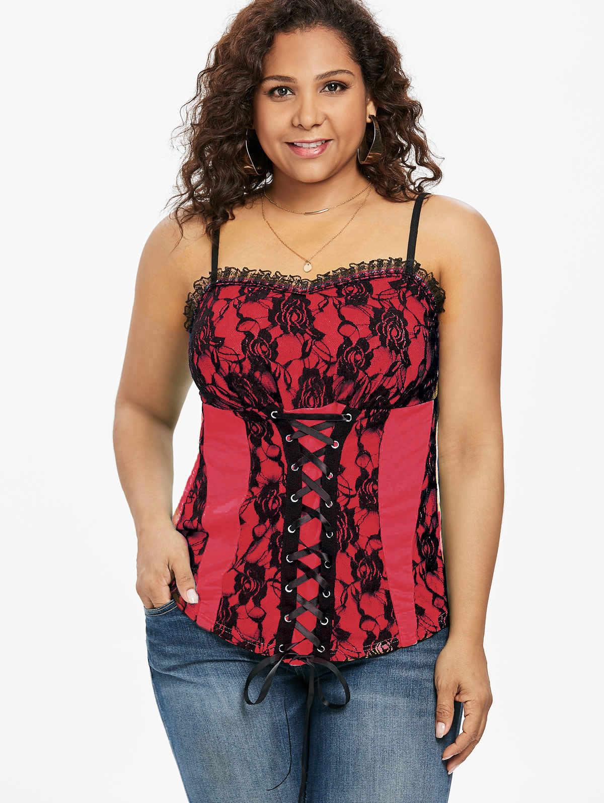 7057b801b4667 Wipalo Plus Size 5XL Floral Lace Up Tank Top Empire Waist Two Tone Ruffle  Trim Vintage