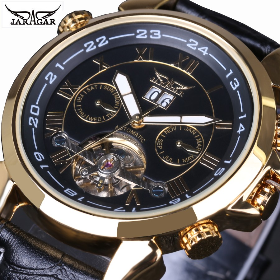 все цены на  Men Watch Top Brand Luxury JARAGAR Mechanical Watches Leather Real Flying Tourbillon Gold Case Skeleton Wristwatches  онлайн