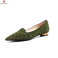 Original Intention Super Beautiful Women Flats Nice Suede Rivets Pointed Toe Flat Shoes Black Green Shoes Woman US Size 4 10.5
