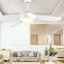 Fashion LED Ceiling Fans 52 inch With Lights Remote Dimming Control Black White living room bedroom home Ceiling Light Fan Lamp(China)