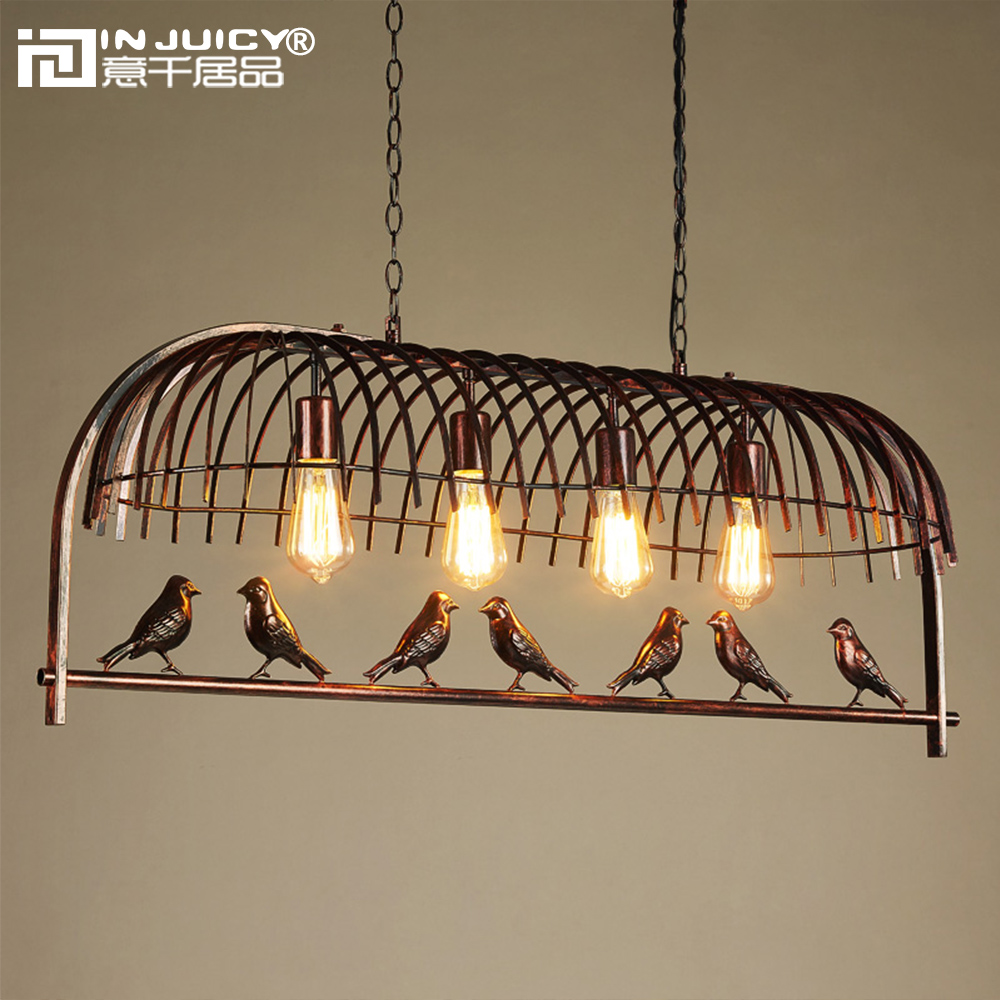 Loft Vintage Industrial Bird Cage Metal E27 Edison Pendant Lights Lamps Fixtures Retro Iron Droplights Cafe Dining Living Room free shipping vintage industrial clear glass metal cage pendant lights lamps dining room ceiling fixtures lighting