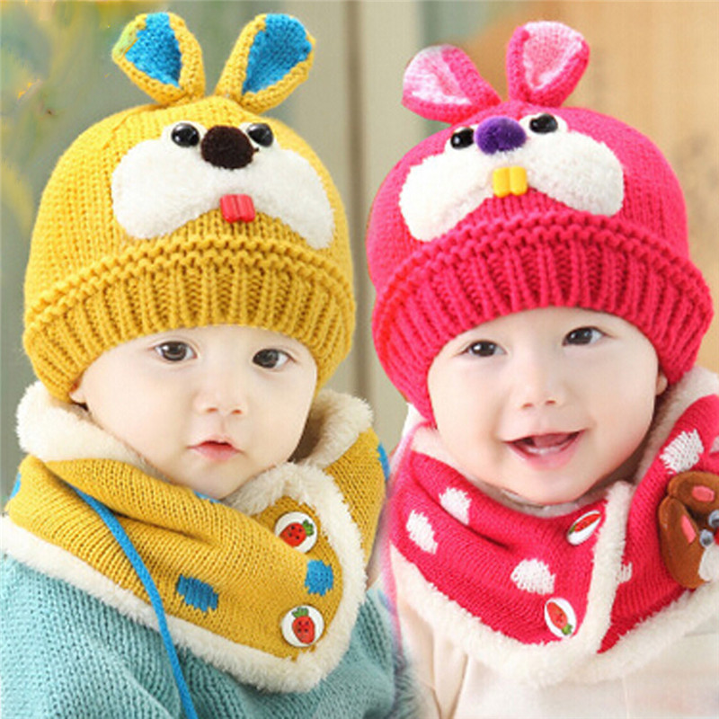 Mother & Kids Honey 2pcs/set Hat Scarf Baby Winter Cap Rabbit Knit Beanie Bonnet Warm Hats For Children Neck Warmer Photography Props Matching In Colour