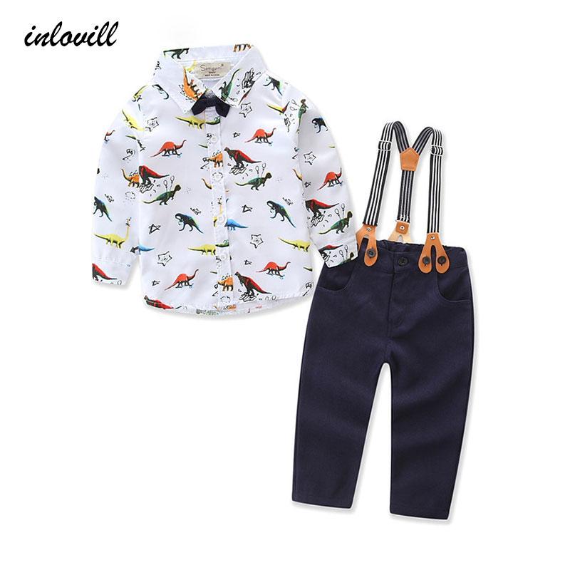 Novo de alta qualidade 2018 primavera impressão animal lapela algodão camisa de manga comprida + suspensórios crianças menino define 2-5Y