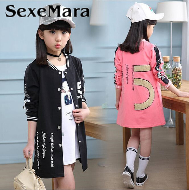 bef70895ce629 SexeMara Girl Baseball Jersey Coat Spring Autumn Baby Baseball Jacket Kid  Long Sleeve Letter Pink Coat School Children Outerwear