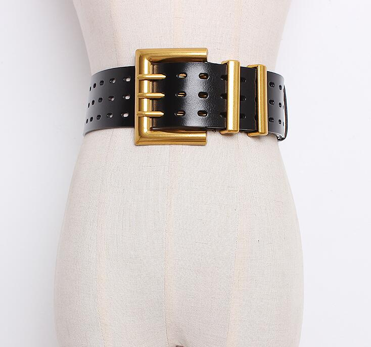Women's Runway Fashion Genuine Caw Leather Cummerbunds Female Dress Corsets Waistband Belts Decoration Wide Belt R1652