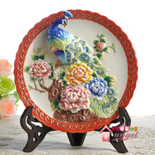 Peacock Wedding gifts decorative wall dishes porcelain plates vintage home decro crafts room decoration
