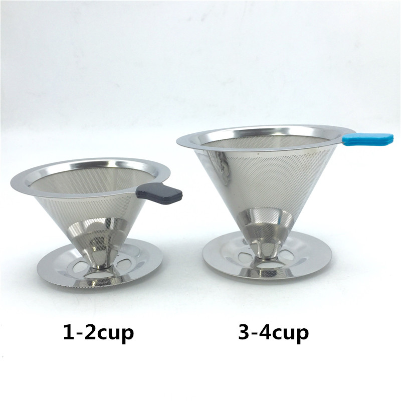 Free shipping stainless steel coffee filter coffee filter cup portable manual brew drip filters coffee tea