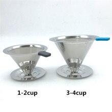 Kostenloser versand edelstahl kaffeefilter/kaffee filter tasse tragbare manuelle brauen drip filter kaffee tee werkzeuge 1-2cup 3-4cup