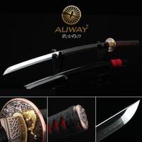 Sharp Katana samurai sword. Casing soil tempering. Japan show real knife. T10