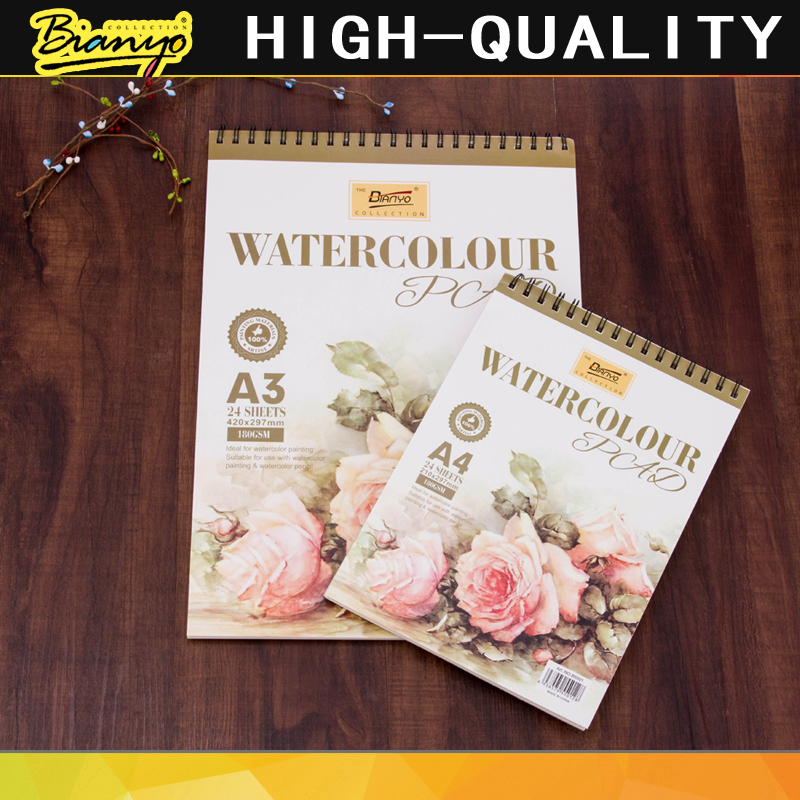 Bianyo 180GSM Professional Watercolor Paper 16K/32K 24Sheets Sketch/Watercolor Pad Book for Creative Painting Book Art Supplies a4 blank page 350g sketch watercolor paper water soluble color painting paper gouache paper gift box package art supplies