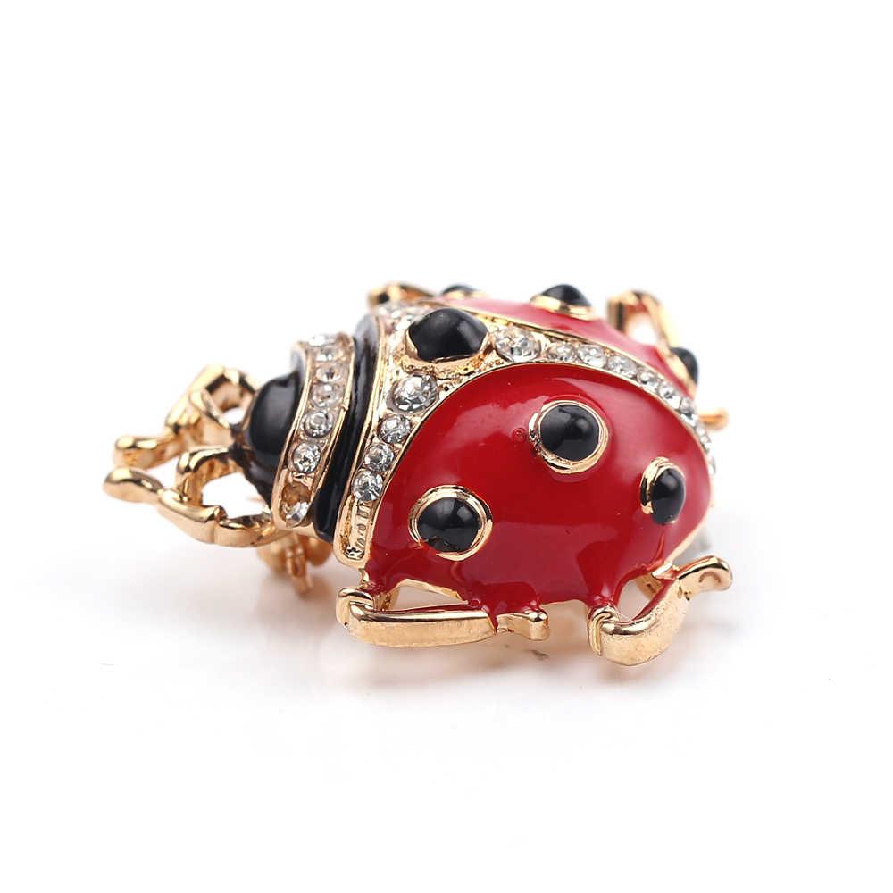 Fashion Baru Seven-Star Ladybug Bros Merah Bertatahkan Berlian Imitasi Pin Kemeja Kerah Lucu Serangga Bros Aksesoris Perhiasan Hadiah