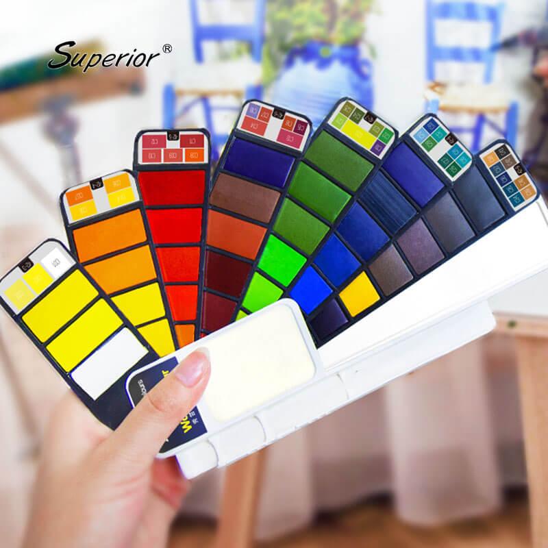 superior solida aquarela pigmento 18 25 33 42 pintura da cor de agua set para estudante