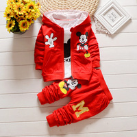 2017 New Fashion 3pcs Children Clothes Set Casual Mouse Knitted Yellow Tops Yellow Pants Kids Clothing