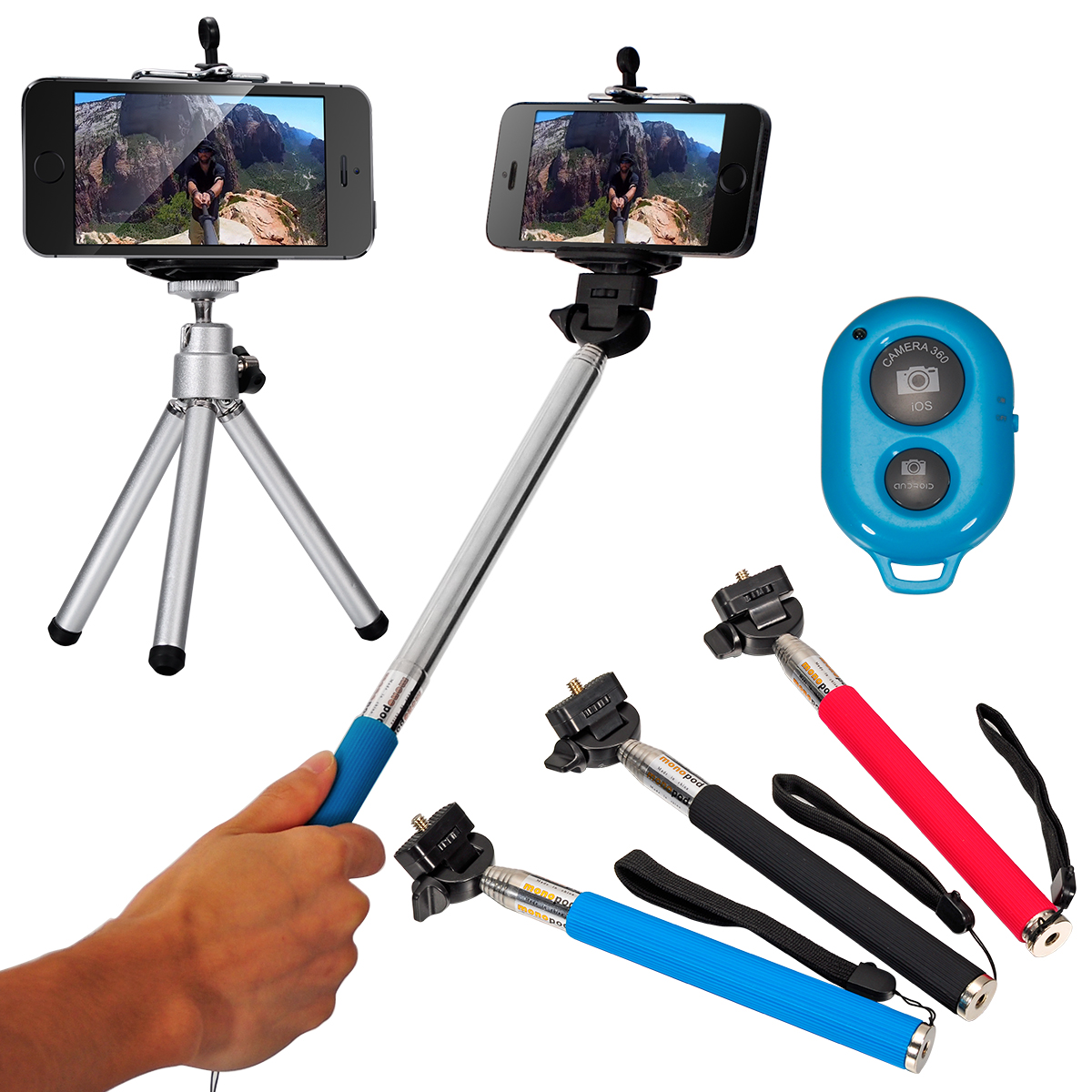 monopod selfie stick handheld tripod bluetooth for iphone 4 4s 5 5s 6 plus dc496 us15. Black Bedroom Furniture Sets. Home Design Ideas