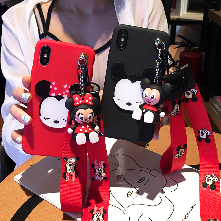 For Huawei Maimang 6 Case, Cute minnie mickey pooh Soft Case for Huawei Maimang 4 / 5 / 6 Doraemon case + toy stander + Strap