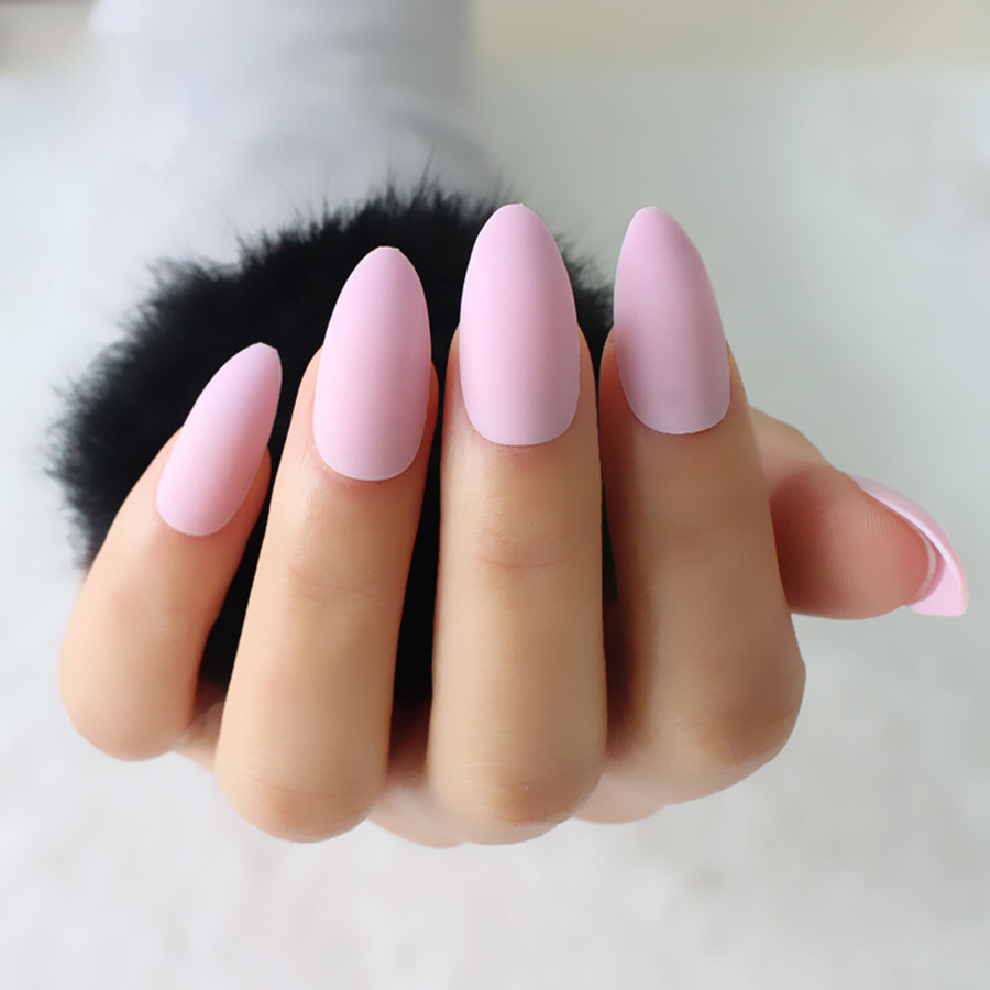24pcs/set Almond Shape Fake Nails Light Pink Sharp Artificial Nail ...