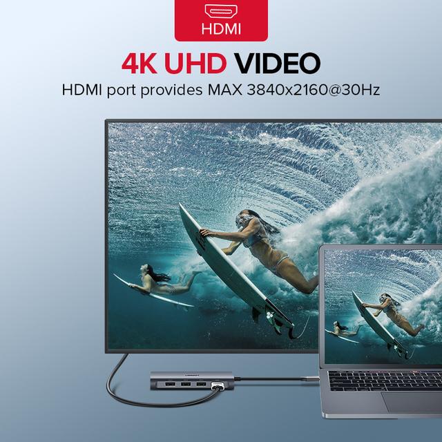 Ugreen USB HUB USB C to HDMI RJ45 Thunderbolt 3 Adapter for MacBook Samsung Galaxy S10 Huawei Mate 20 P20 Pro Type C USB 3.0 HUB