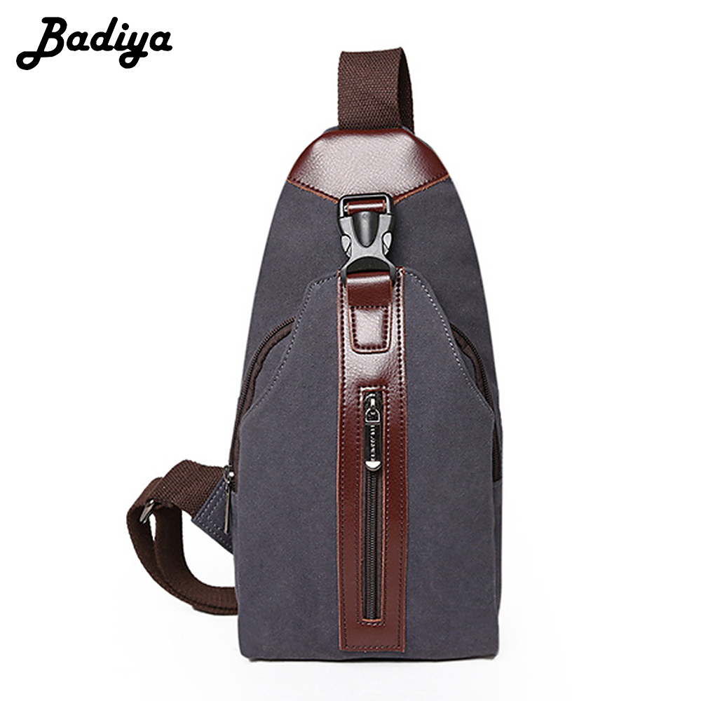 New Casual Mens Canvas+PU Leather Solid Multi Pockets Messenger Bag Men Chest Bags Travel Military Bag