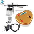 OPHIR Portable 0.3 mm Dual-Action Airbrush Kit with Air Compressor for Body Paint Makeup Tanning Nail Art Air-brush _AC041+AC005