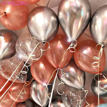 STARLZMU 10PCS 12inch Shiny Metallic CHROME Balloons Mermaid Party Balloon Happy Birthday Wedding Ballons Event Decoration