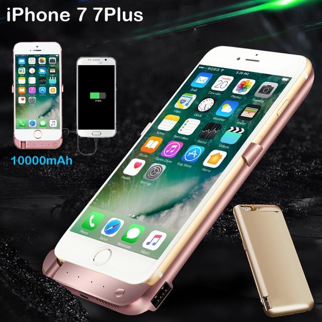 10000 mAh Power bank Pacote de backup Externo Caso Carregador de bateria Para iPhone 6 6 s Plus 7 7 Plus com vidro temperado film linha USB