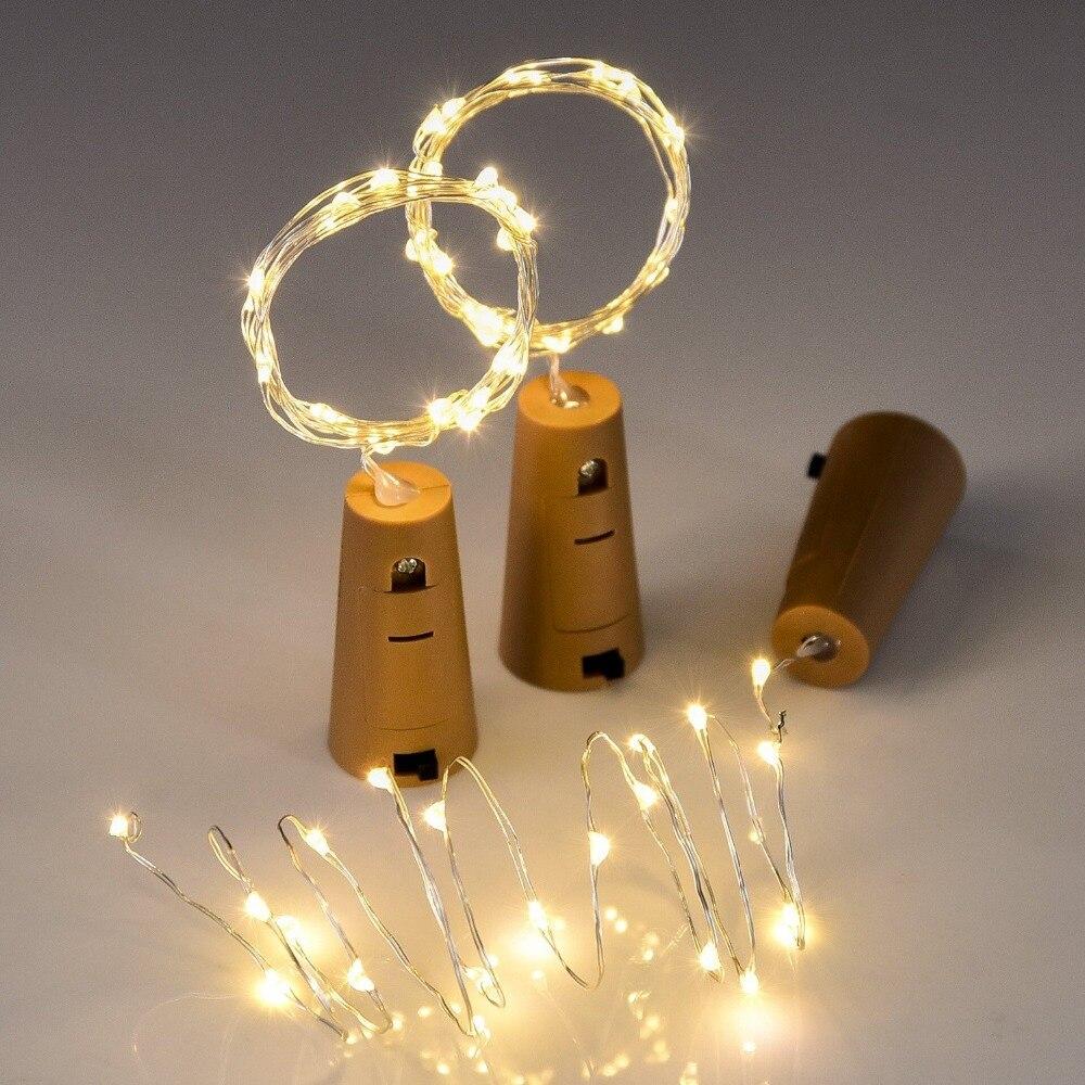 W zestawie baterie 10 szt. 1M 2M girlanda żarówkowa led lampy świecący korek do butelki wina korek w kształcie dekoracja na przyjęcie ślubne
