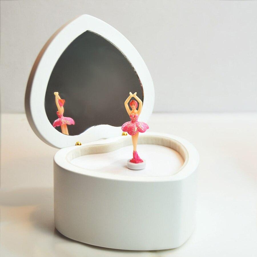 Aliexpresscom Buy Heart Shaped Ballet Girl Music Box White Pink