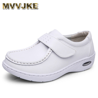 MVVJKE New Four Seasons Woman Pure White Nurse Shoes Women Platform Soft Hook Loop Air Cushion