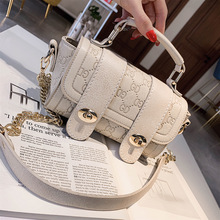 Ladies Summer 2019 Small Square Bag New Embossed Chain Bag  PU Single Shoulder Slant Bag