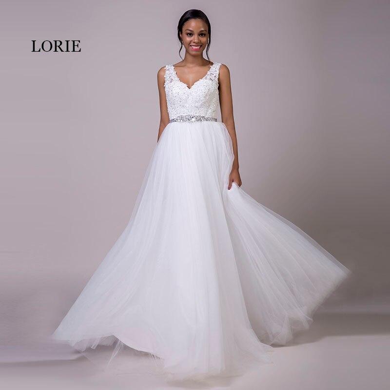 e9cc9770f29 LORIE Plus La Taille Dentelle Robes De Mariage Blanc Tulle Lace Up Perlée  Ceintures A-ligne V-cou Réel De Mariée Robes De Mariée Livraison Gratuite