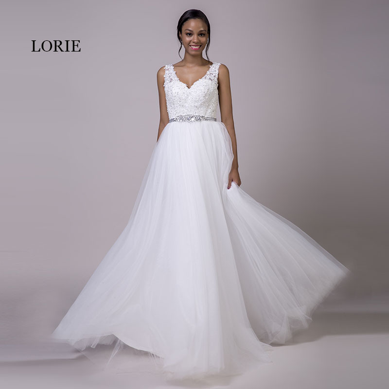 LORIE Plus Size Lace Wedding Dresses White Tulle Lace Up Beaded Sashes A-Line V-Neck Real Bridal Wedding Gowns Free Shipping