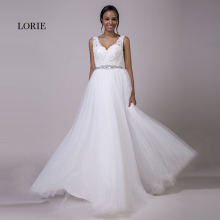 Фотография LORIE Plus Size Lace Wedding Dresses White Tulle Lace Up Beaded Sashes A-Line V-Neck Real Bridal Wedding Gowns Free Shipping