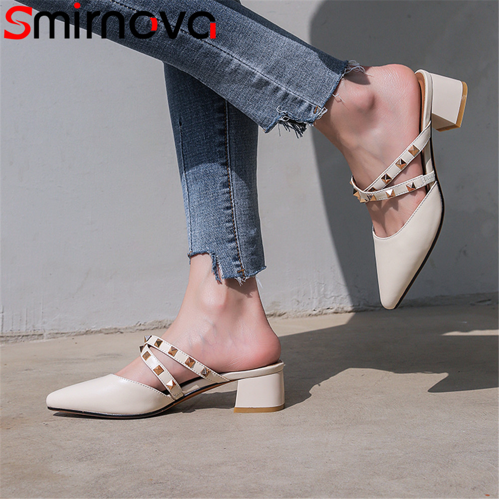 Smirnova 2018 summer new shoes woman pointed toe fashion rivet sandals women genuine leather med heels shoes square heel цена