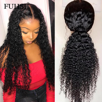 Curly13x6 Deep Part Lace Front Human Hair Wigs For Black Women Pre Plucked Glueless Brazilian Remy Hair 130 Density FUHSI Hair