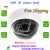 Built In WIFI 720P IR Dome Vandal Proof Plastice Indoor CCTV Cam Onvif IP Camera FTP
