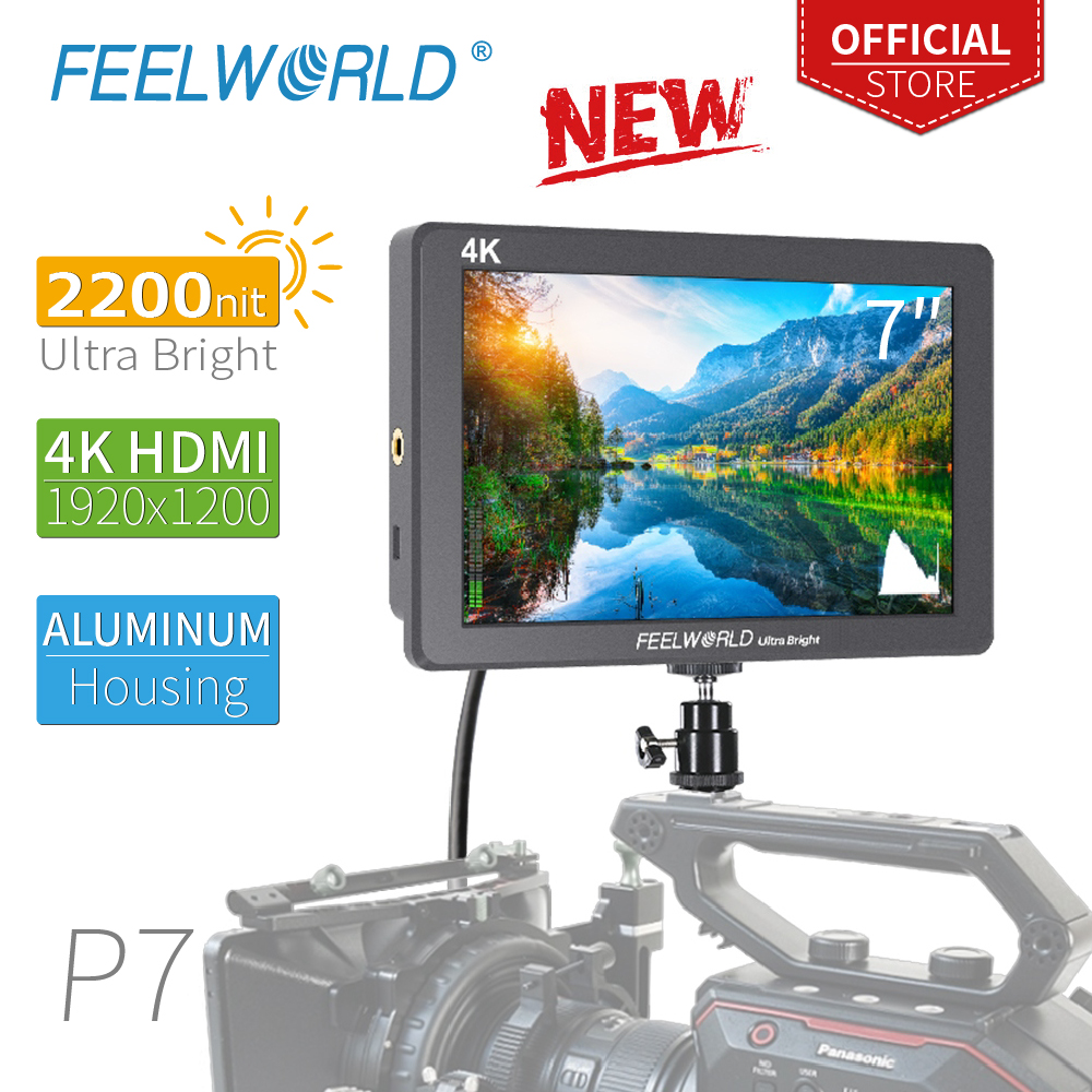 FEELWORLD P7 7 Inch Ultra Bright 2200nit on Camera Field DSLR Monitor Aluminum Housing 4K HDMI