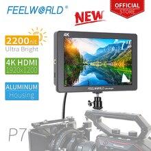 7 дюймовый Ультраяркий монитор FEELWORLD P7 2200nit для камеры, монитор для цифровой зеркальной камеры с алюминиевым корпусом, видеофокус 4K HDMI с выходом постоянного тока