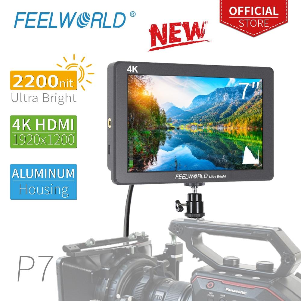 FEELWORLD P7 7 pouces Ultra lumineux 2200nit sur le champ de la caméra DSLR moniteur en aluminium boîtier 4K HDMI aide à la mise au point vidéo avec sortie cc-in Moniteur from Electronique    1