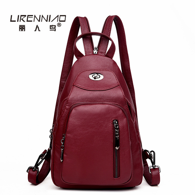 LIRENNIAO Leather Backpacks Women bag SchoolBags For Girls mochila mujer Softback Travel Woman Backpack bagpack sac a dos homme dida bear women leather backpacks bolsas mochila feminina girls large schoolbags travel bag sac a dos black pink solid patchwork